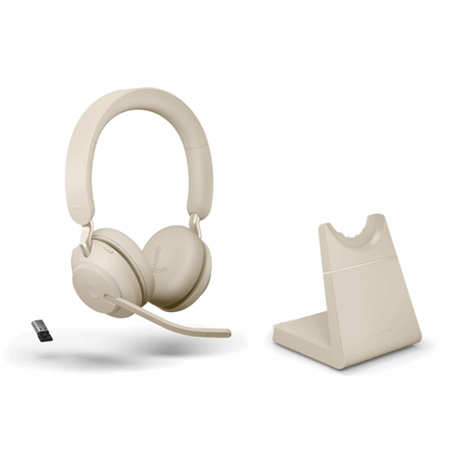 Jabra Evolve2 65 Link380a MS Stereo Stand Beige